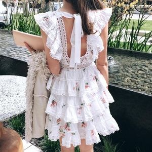 White Floral Print Lace Pintuck Minidress